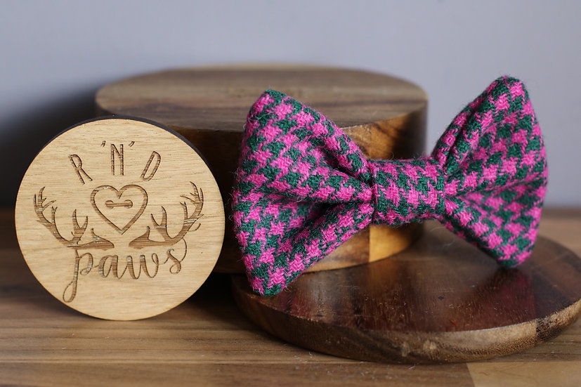 Large Pink and Green Harris Tweed Bow