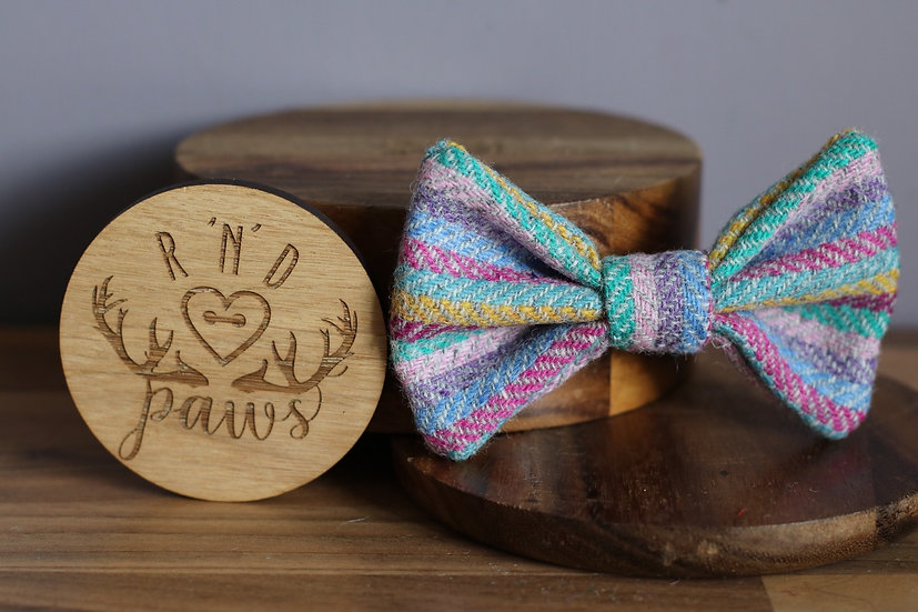 Large Grey Multicolour Stripe Harris Tweed Bow
