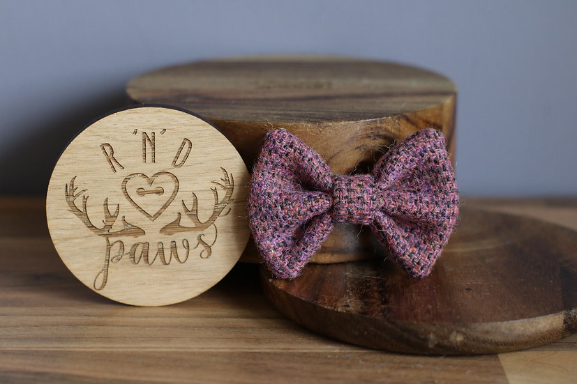 Small Pink, Orange and Lilac Fleck Harris Tweed Bow