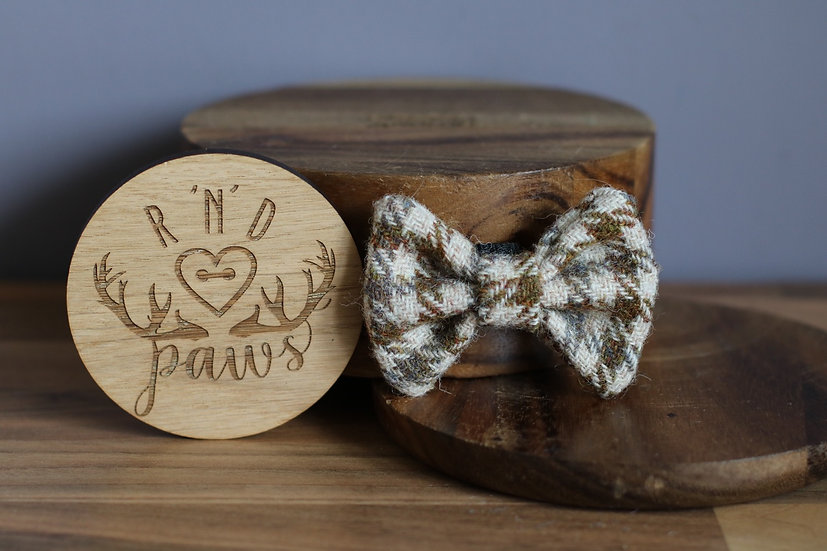 Small Grey and Brown Harris Tweed Bow