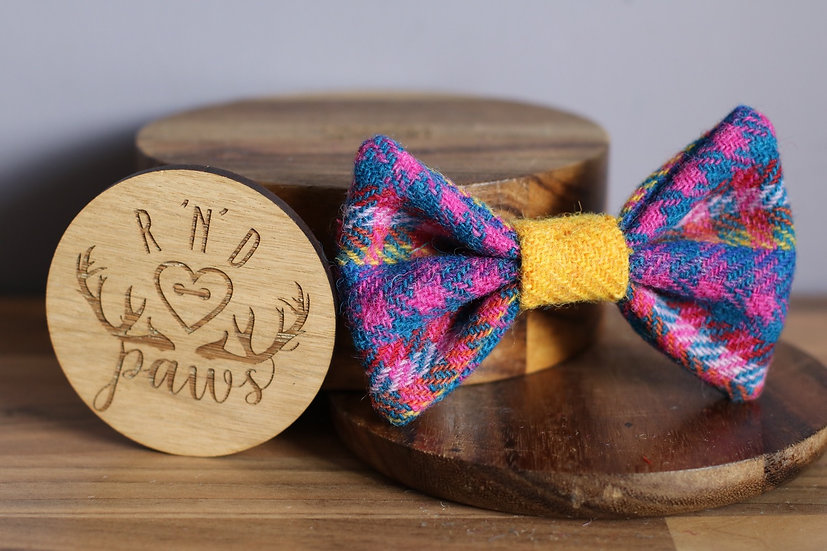 Large Navy and Yellow Mix Harris Tweed Bow