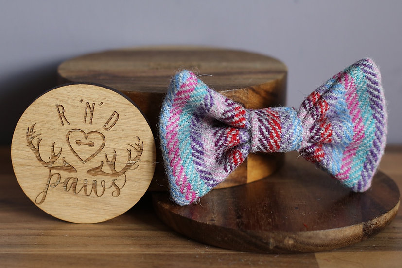 Large Purple and Blue Harris Tweed Bow