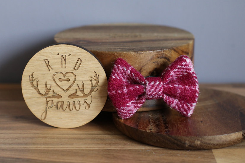 Small Wine Check Harris Tweed Bow