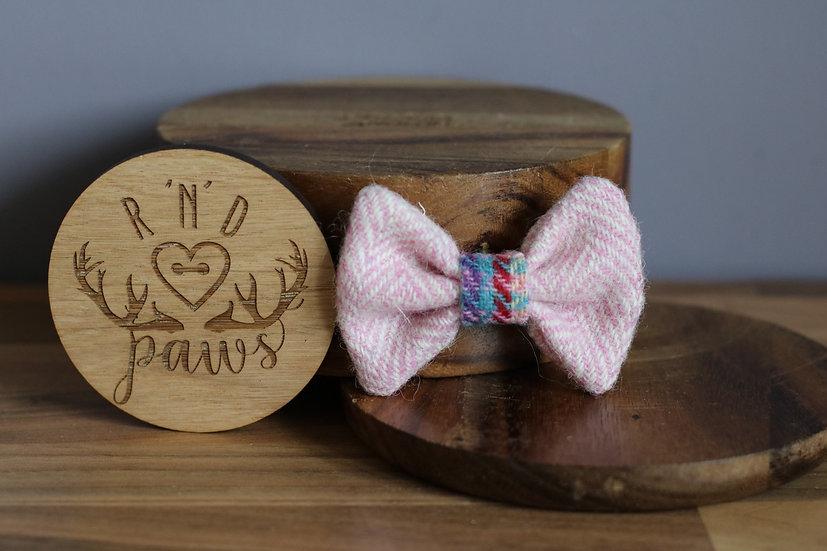 Small Baby Pink Herringbone Harris Tweed Bow