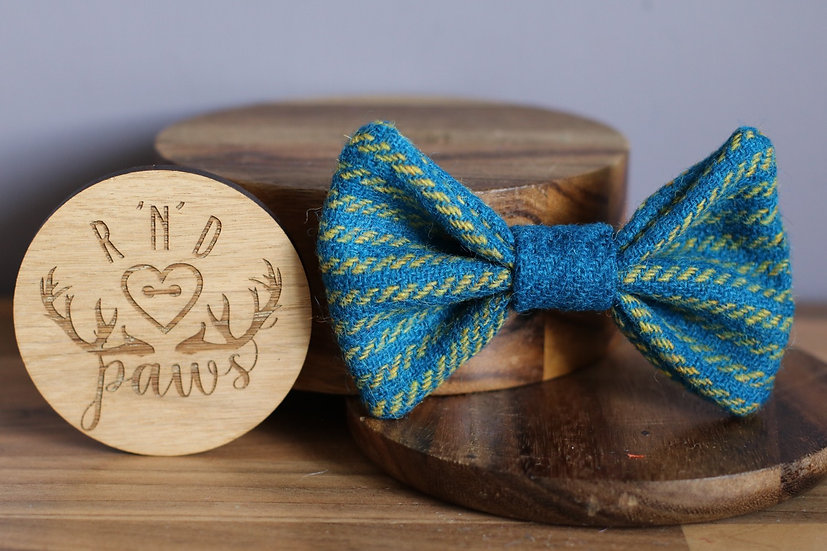 Large Blue and Yellow Stripe Harris Tweed Bow