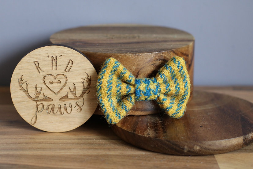 Small Yellow and Blue Stripe Harris Tweed Bow