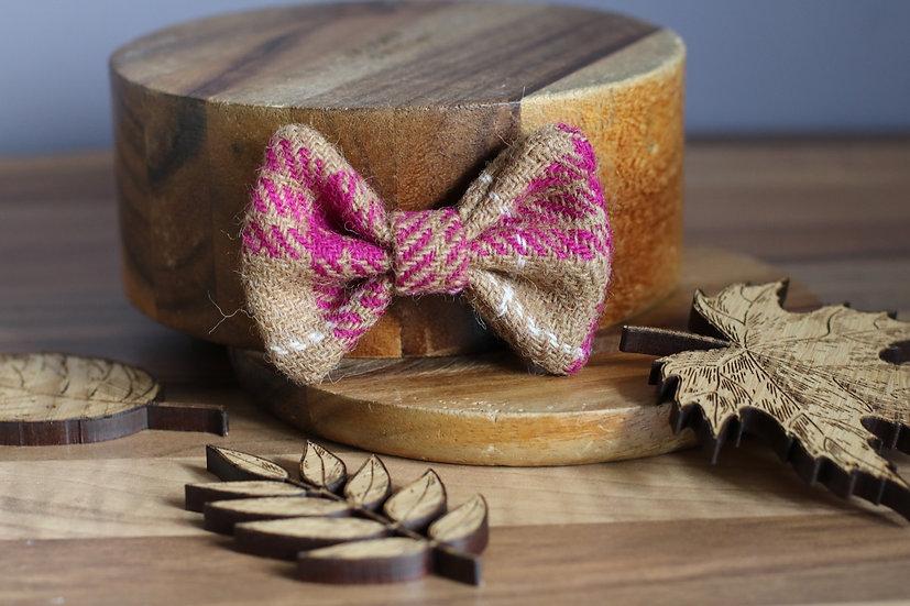 The Raspberry Latte Harris Tweed Bow