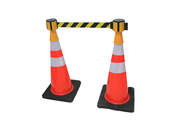 Cone with detachable warning tape