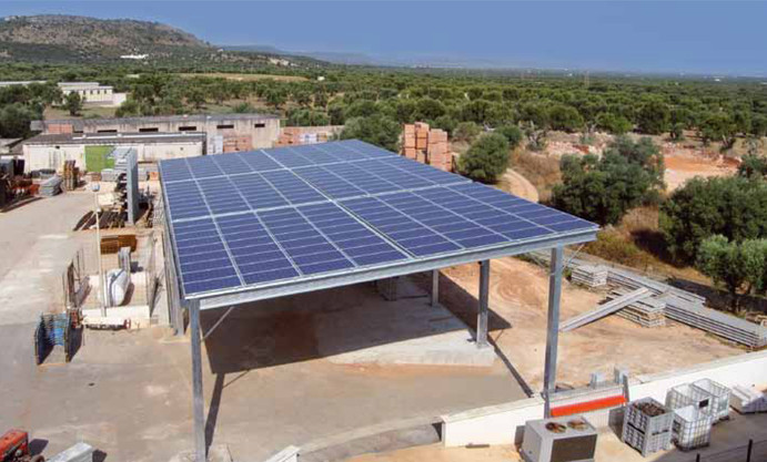 Metal Structure with Solar Panel Roofing