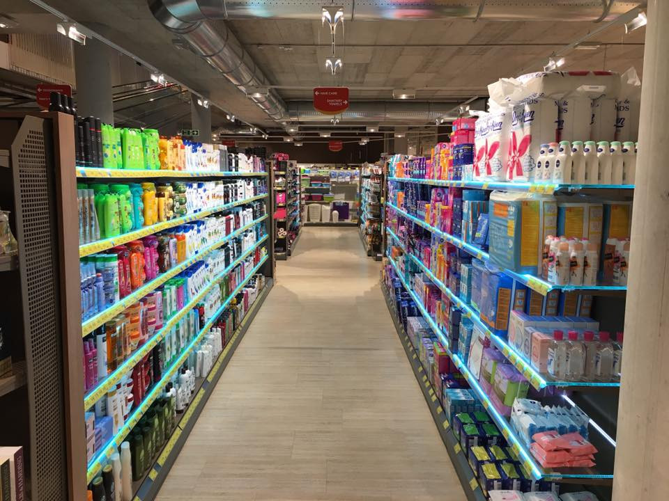 Retail Shelving with Lighting Strips