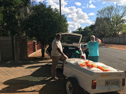 Pastor Moghale collecting food