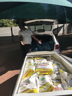 Pastor Paul collecting food