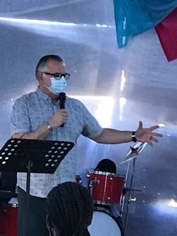 Keith preaching at Nyakaleng