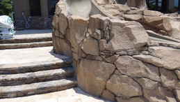 pool grotto and slide