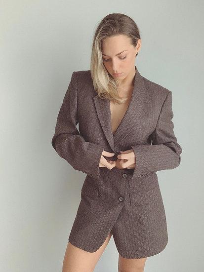 brown pinstripe set