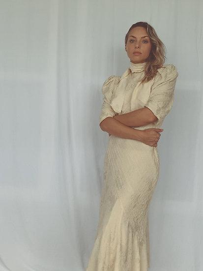 vintage cream silk dress