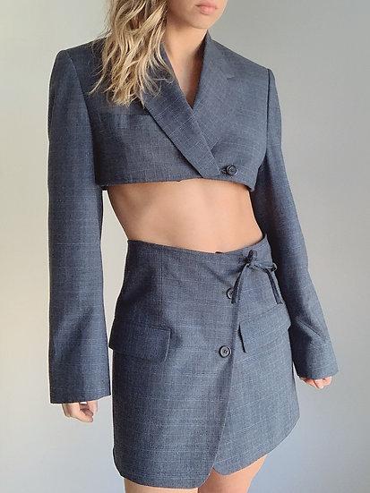 navy plaid blazer set