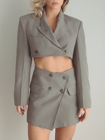 gray blazer set