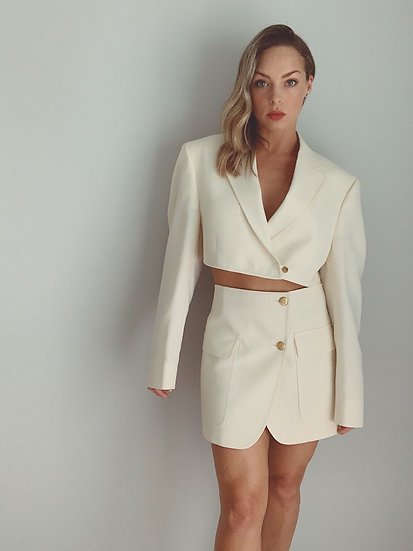 cream blazer set