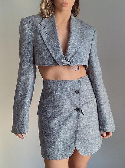 blue wool blazer set