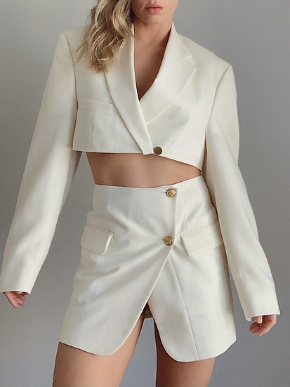 cream blazer set