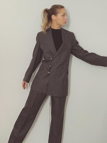 gray pant suit
