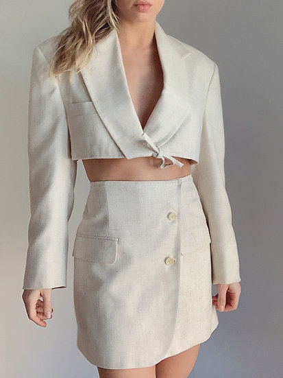 textured cream blazer set