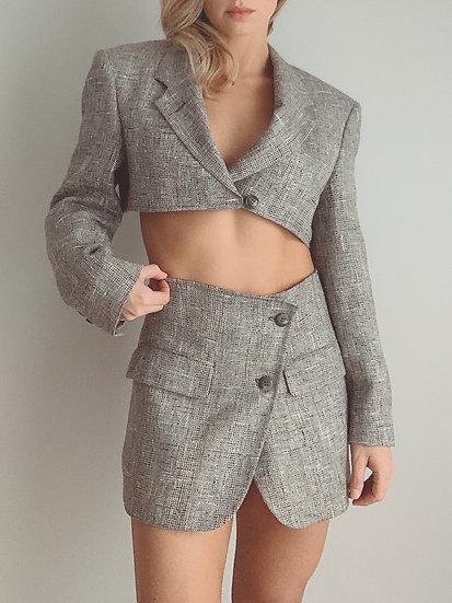 gray tweed set