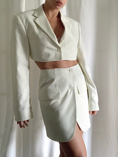 white dove blazer set
