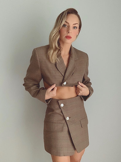 brown plaid blazer set
