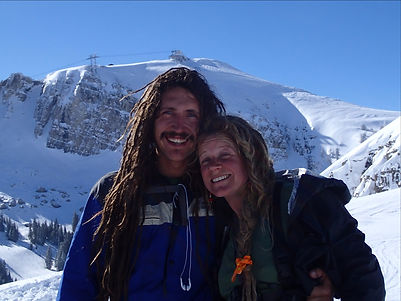 Chris and Audrey skiing at Jackson Hole