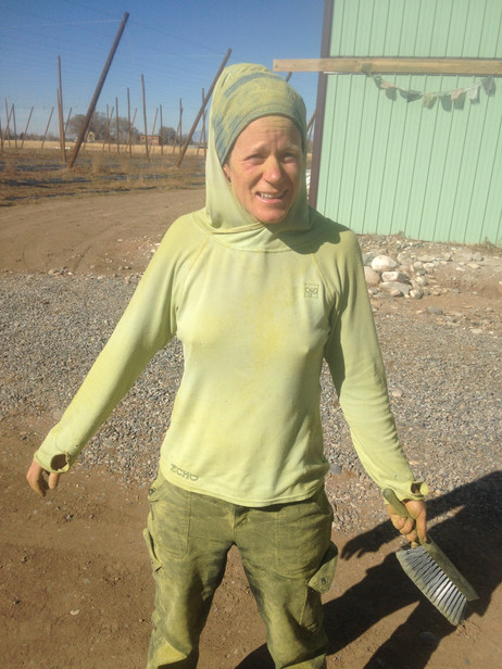 Audrey covered in hop powder!