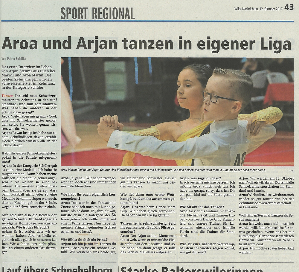 Interview Wiler Nachrichten 12.10.17 mit Arjan Steurer und Aroa Martin