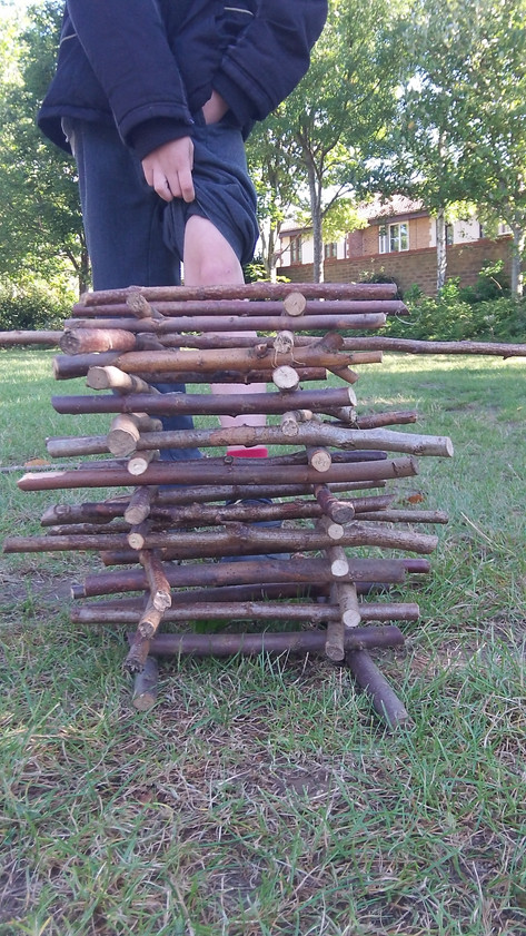 He built the twig tower as high as his scab!