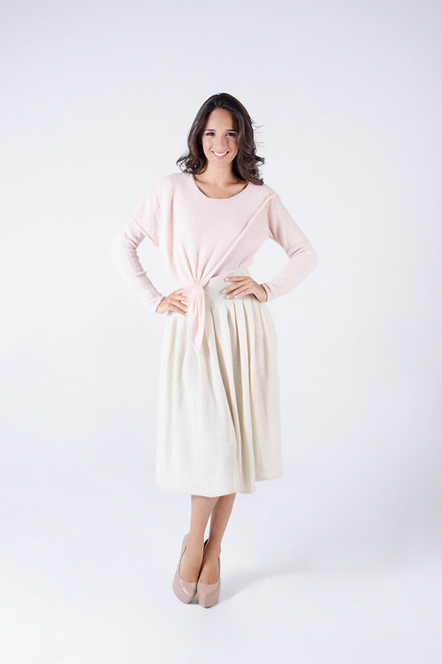 Draped sweater & Alpaca skirt