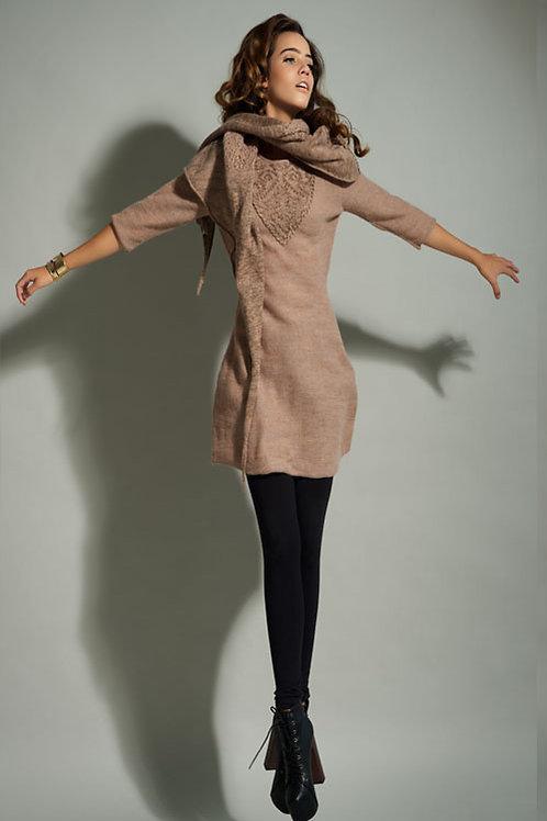 Short sleeve alpaca dress & scarf
