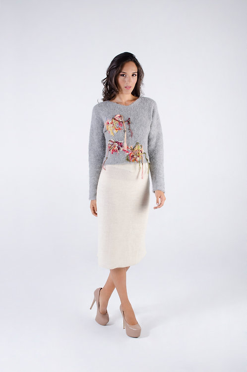 Gray Alpaca sweater & skirt