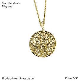 Colar e pendente de prata dourada e filigrana.