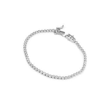 Uma Tennis Bracelet, em Prata 925 e Zircónias. Com fecho click. Uma joia high end a um preço low cost.