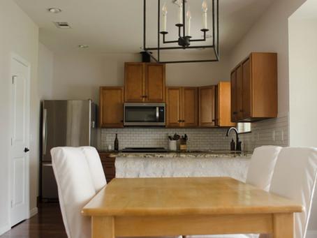 Kitchen Progress: Appliances, Backsplash, Lighting, and Chairs