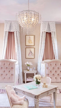 Baby Nursery, Crib, Pink, Velvet, Chandelier, Drapes, Curtains, REGHABLAKE, Chair, Table, Bunny, Interior Design, Interior Designer, Baby Room, Flowers, Vase, Pictures, Wall Art, White, Kids, Baby