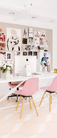 Office, Pink, Chairs, Desk, White, Wall Art, Interior Design, REGHANBLAKE, Compuer, Mac, Laptop, Apple, Rolling Chair, Flowers, Chandelier, Grey, Wood, Office Design
