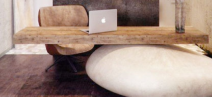 Desk, Office, Rock, Brown, Grey, Stone, Wood, Professional Space, Interior Design, REGHANBLAKE, Chair, Vase, Computer, Laptop, Mac, Apple, Hardwood Floor, Interior Designer, Offic Designer