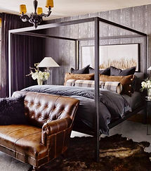 Bedroom, Masculine, Leather, Couch, Sofa, Bed, Four Post Bed, Lamp, Sheets,Grey, Brown, Cow Skin Rug, Interior Design, Interior Designer, REGHANBLAKE, Chandelier, Manly, Wall Art, Wood Paneling, Curtains, Drapes