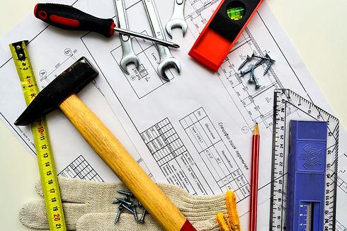plano-casa-herramientas-lapiz-regla-borr