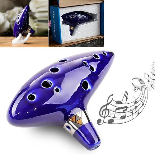 12 Hole Ceramic Blue Ocarina - Legend of Zelda - Flute Tone C