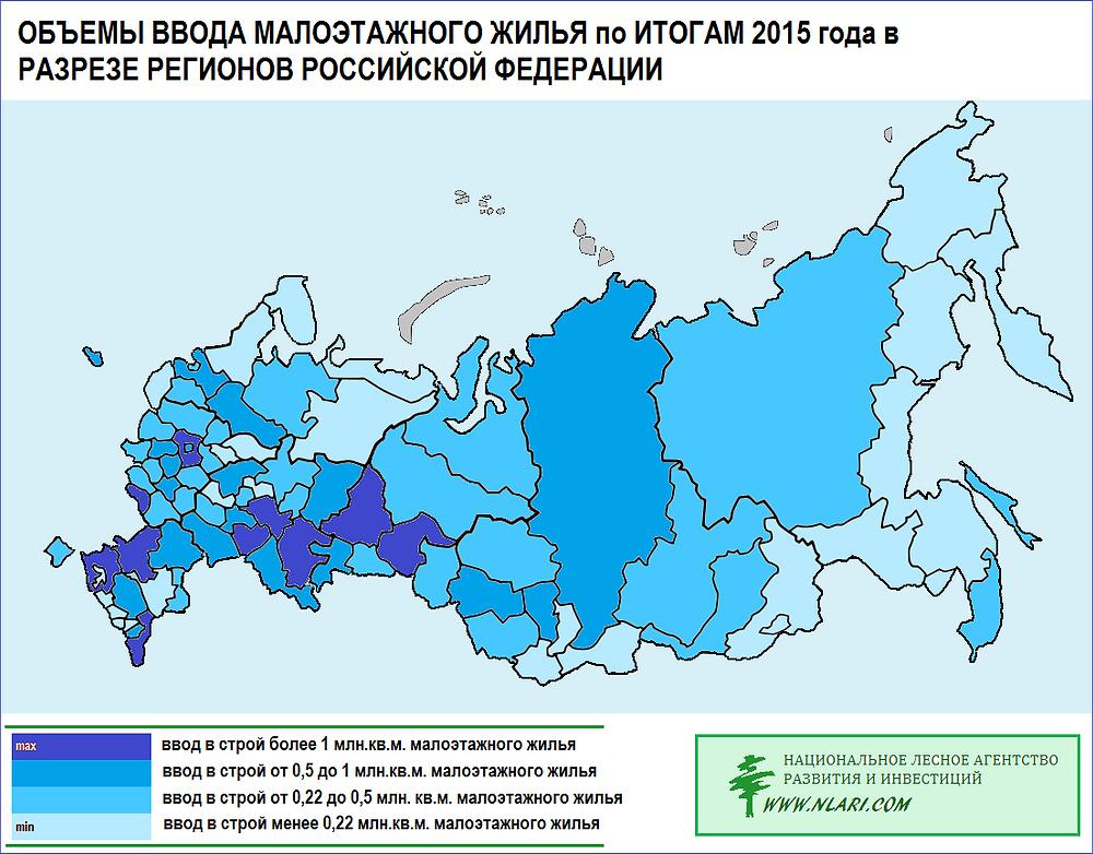 Объемы ввода малоэтажного жилья по итогам 2015 года в разрезе регионов РФ