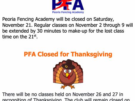 November No Classes Days