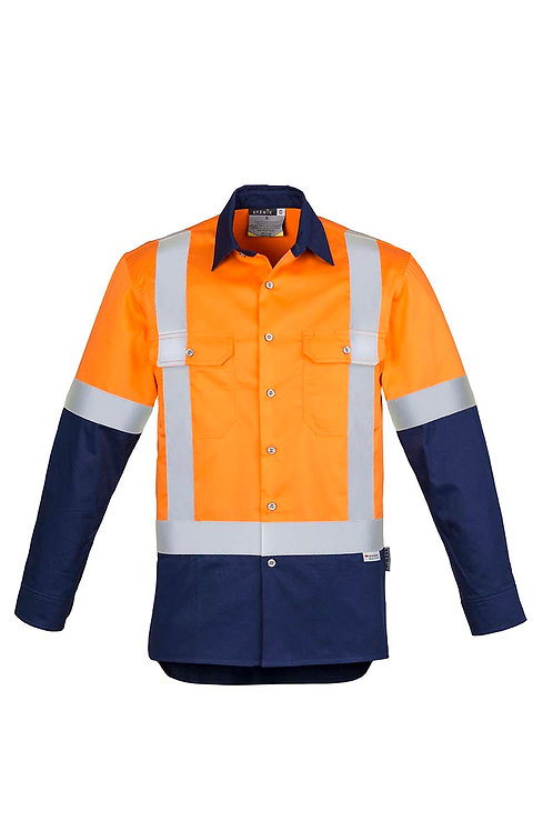 Syzmik Mens Hi Vis Spliced Industrial Shirt - Shoulder Taped