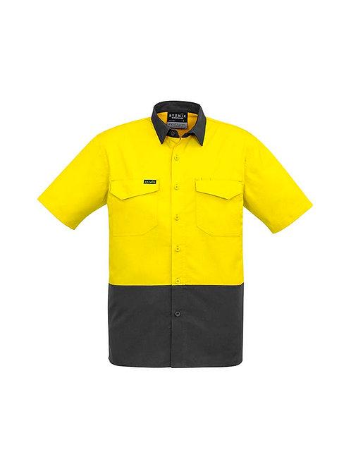 Syzmik Mens Rugged Cooling Hi Vis Spliced S/S Shirt